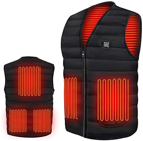 2020 加熱ベスト USB充電式電熱ベスト ヒーター内蔵 電熱ジャケット 高·中·低3段階の温度制御 5つのヒーター 保温 防寒 秋冬 大雪対策 男女兼用 旅行/スキー/スケート/ハイキング/洗濯可 取极説明書付き (3XL)