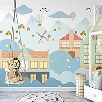 SDSXT キッズルームの写真の壁紙小さな家の子供部屋の寝室の装飾の壁紙壁画3D,330cm(W)x300cm(H)
