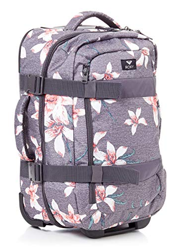 Roxy In The Clouds Maleta Grande con Ruedas, Mujer, Rosa/Gris (Charcoal Heather Flower Field), 87 l