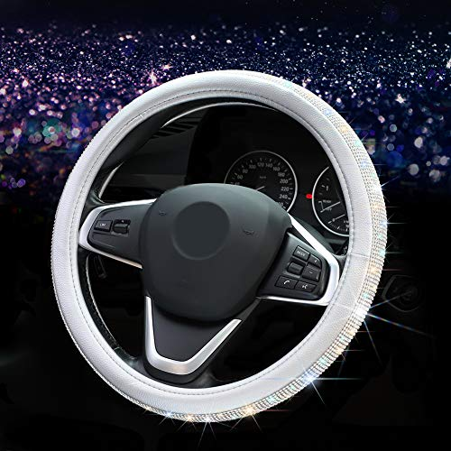 Otostar Luxury Litchi Soft Leather Crystal Steering Wheel Cover, with 3444pcs Premium Bling Bling Full Diamond 15 inch (Silver)