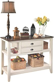 Ashley Dining Room Server in Brown and Cottage White