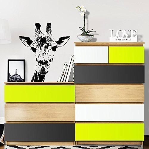Grandora Möbelfolie 3-farbig passend für IKEA MALM Kommode I Farbset 1: pastellgrün, dunkelgrau, weiß I Möbelaufkleber Möbelsticker Kinder Aufkleber Sticker W5232