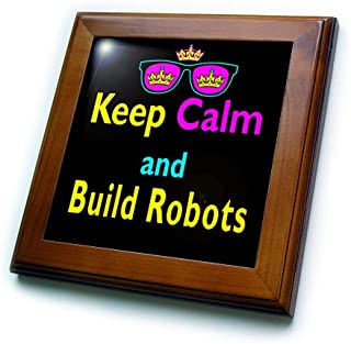 3dRose ft_116566_1 CMYK Keep Calm Parody Hipster Crown and Sunglasses Keep Calm and Build Robots-Framed Tile, 8 by 8-Inch