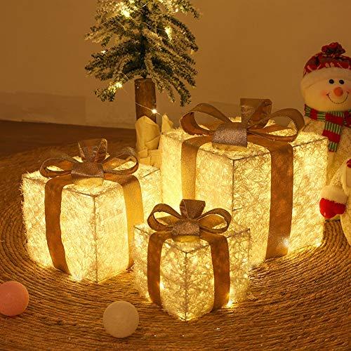 25/20/15 cm Sisal y ratán pre-Lit LED de luz Blanca cálida en Caja de Regalo y Rojo Cinta de árbol de Navidad, Juego de 3, Preiluminadas para Decoración Navideña,C