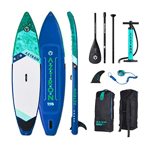"Aztron URONO Inflatable Stand Up Paddle Board 11' 6"" Touring SUP Double Chamber & Layer with Adjustable Aluminum Paddle"