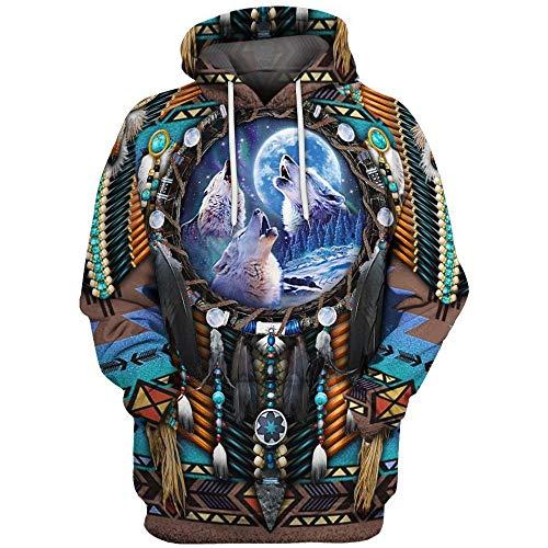 huateng Unisex Indianer Hoodie Männer/Frauen Vintage 3D Digital Print Pullover mit Kapuze Sweatshirt