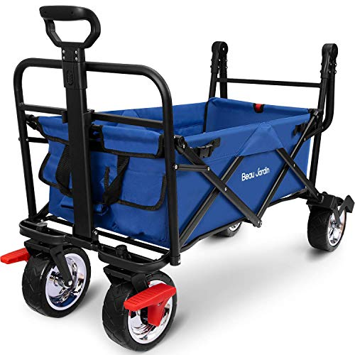 BEAU JARDIN Garden Trolley Folding Wagon Push Cart With Brake Collapsible Utility 80KG Max load Sturdy Portable Rolling Lightweight Beach Outdoor Garden Picnic Heavy Duty Shopping Cart Wagons Blue