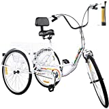 Happybuy Foldable Tricycle 24'' Wheels, 1-Speed White Trike, 3 Wheels Colorful Bike with Basket, Portable and Foldable Bicycle for Adults Exercise Shopping Picnic Outdoor Activities
