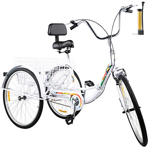 Bkisy Tricycle Adult 26'' 1-Speed 3 Wheel Bikes for Adults Three Wheel Bike for Adults Adult Trike Adult Folding Tricycle Foldable Adult Tricycle 3 Wheel Bike Trike for Adults (White)