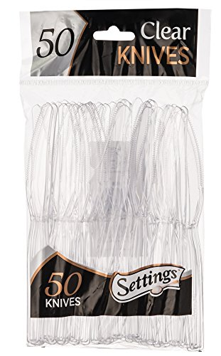 [50 Count] Settings Plastic Clear Knives, Heavyweight Disposable Cutlery, Great For Home, Office, School, Party, Picnics, Restaurant, Take-out Fast Food, Outdoor Events, Or Every Day Use, 1 Bag