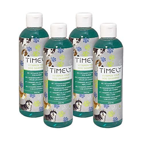 Timely Vitamine Hond shampoo, intensieve revitalisering voor versleten vacht, (inhoud verpakking 4 x 250 ml)