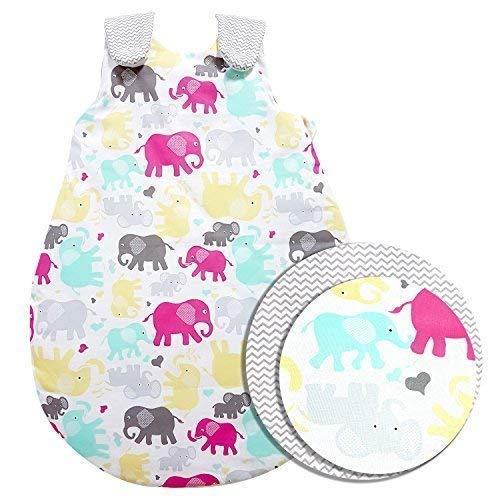ZICK-ZACK Kollektion Baby-Joy - Babyschlafsack 100% Baumwolle WARM gefüttert Außensack Schlafsack (56/62, 10 Elephant)