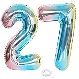 SNOWZAN Globo con número 27 XL con el número 27 arcoíris para niñas niños globos para decoración de cumpleaños color azul rosa iridiscente años de 32 pulgadas helio gigante para fiesta de cumpleaños