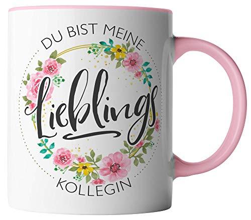 vanVerden Tasse - Du bist meine Lieblings Kollegin - beidseitig Bedruckt - Geschenk Idee Kaffeetassen, Tassenfarbe:Weiß/Rosa