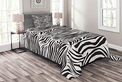 ABAKUHAUS Zebra-Druck Tagesdecke Set, Wilde Zebra-Linien, Set mit Kissenbezug Klare Farben, für Einzelbetten 170 x 220 cm, Weiß Schwarz