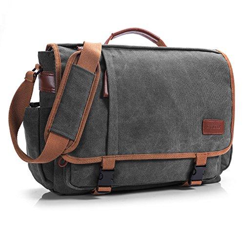 CoolBELL Umhängetasche Laptop Tasche 15.6 Zoll Aktentasche Business Messenger Bag Multifunktions Laptoptasche Reise Tasche Handtasche für Damen/Herren(Canvas Dunkel Grau)