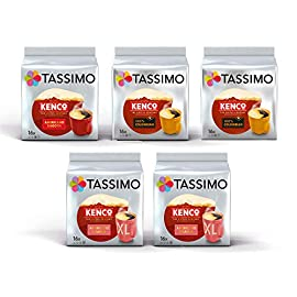 Tassimo Coffee Kenco Bundle – Kenco Americano Smooth/Americano Grande/Pure Colombian pods – Pack of 5 (80 Servings)