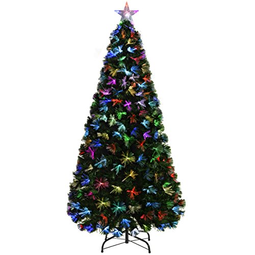 WeRChristmas Pre-Lit Fibre Optic Christmas Tree with Tree Topper and Flower Lights, Green, 7 feet/2.1 m