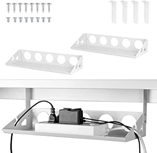 2 Packs Under Desk Cable Management Tray Organizer, 40cm Heavy Sheet Metal Cable Holder Under Table Wire System Management...