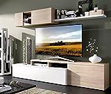 LIQUIDATODO ® - Composición de salón de 200 cm en blanco brillo y color natural