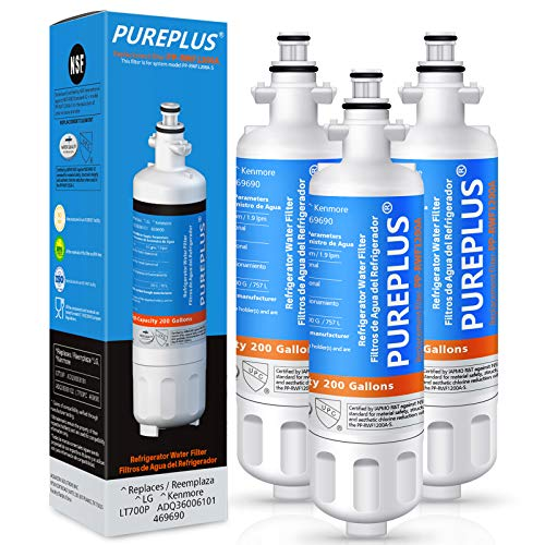 PUREPLUS 9690 Replacement for LG LT700P Kenmore Elite 469690, ADQ36006102, ADQ36006101, LFXS30766S, LFX28968ST, LFX31925ST, LFX31945ST, LFXS29626S, RWF1052, RWF1200A Refrigerator Water Filter, 3Pack