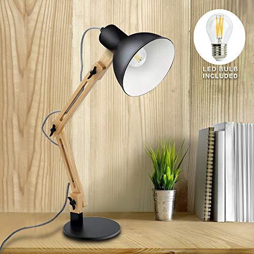 DLLT Wooden Swing Arm Led Desk Lamp, Wood Architect Table Lamp, Pixar Multi-Joint Adjustable Desk Lamp, Task Light for Office Bedroom Dorm Workbench Reading Study Work, Warm Light