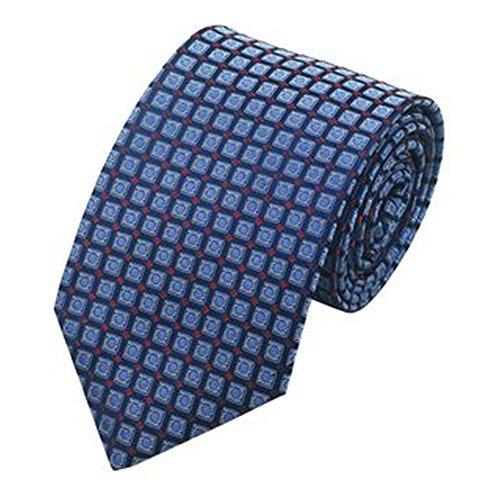 Jason & Vogue Designer Cravate en bleu carreaux rouge à pois