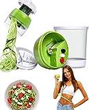 Miraladen 5-in-1-Spiralgemüseschneider Gemüseschneider,Spaghetti,Gemüse,Spiralschneider mit Behälter,Knopfwechsel,für Karotten,Gurken,Karotten, Kürbisse, Zwiebeln