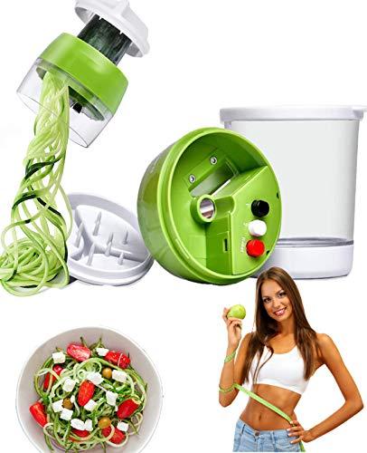 Miraladen Spiralschneider gemüse mit Behälter für Kartoffeln, Zucchini, Kürbis, Gurke und Zwiebeln. Gemüseschneider für gemüsespaghetti,Hand Gemüsenudeln,Gemüse Schneider,Gemüsehobel