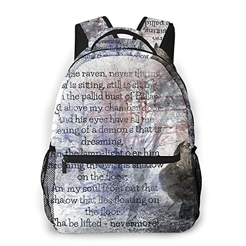 Sac à dos pour adolescents, hommes et femmes, paquet de rangement,Poème d'Edgar Allan Poe Le Corbeau, Business Casual School Student's Bag Travel Laptop Daypack