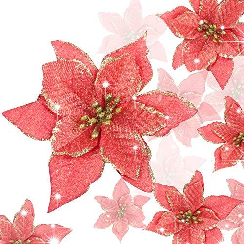UFLF 18 Pz Fiori di Natale Poinsettia Fiori Artificiali Natale Addobbi per Albero di Natale Ornamenti per Decorazione Natale Capodanno Matrimonio
