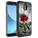 Carcasa para Samsung Galaxy J7 2018/J7 Refine/J7 Star/J7 TOP/J7 Aero/J7 Eon, Rossy Hybrid TPU de plástico de doble capa, protección de armadura para Samsung Galaxy J7 2018, color rojo rosa en la pared