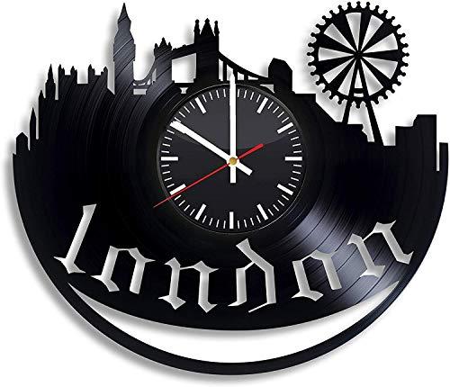 Reloj de pared de vinilo negro vintage de la Ciudad de Londres, Reino Unido, Inglaterra, diseño moderno 3D, oficina, bar, sala de estar, regalo