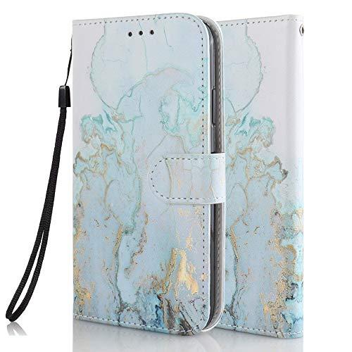 Coeyes Handyhülle kompatibel für Samsung Galaxy S8 Hülle Leder Tasche Flip Hülle 3D Muster Design mit kartenfach Etui Schutzhülle Cover - Gold Blauer Marmor