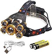 Garberiel 8000 Lumens 5-T6 LED Headlamp Super Bright Waterproof Adjustable Headlight Head Lamp (Battery, USB Charger Include) (White)