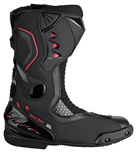 XLS Motorradstiefel hochwertige Racing Boots Touringstiefel schwarz (45)