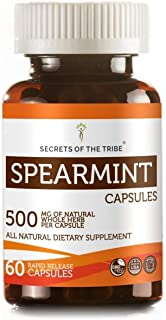 Secrets Of The Tribe Spearmint Capsules 500 mg Organic Spearmint (Mentha spicata) Dried Leaf, Women's Hormone Support Supplement (60 Capsules)