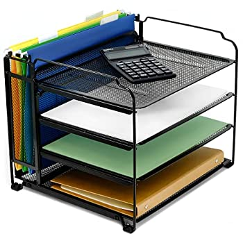 CAXXA 4 Tier Mesh Document Trays with Vertical Upright Section for Hanging File Holders Mesh Office Supplies Desk Organizer BLACK