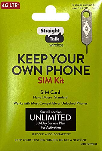 Straight Talk 4G LTE Universal Bring Your Own Phone Sim Card Kit, Verizon AT&T T-Mobile Compatible, with Lake'ell iPhone Sim Tray Needle