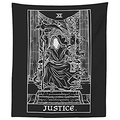 "The Ghoulish Garb Justice Tarot Card Tapestry (Black & White) - Grim Reaper - Gothic Halloween Home Decor Wall Hanging (80"" x 68"")"