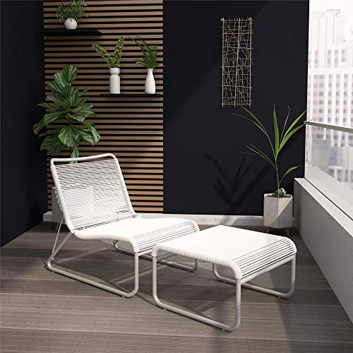 CosmoLiving by Cosmopolitan 88859WHG1E, Lita 2 Piece Patio Lounge and Ottoman Set, White