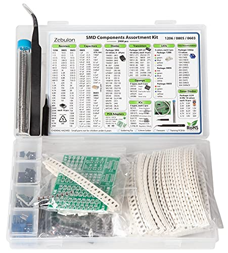 SMD SMT Elektronische Bauteile Sortiment, 1206, 0805, 0603, Widerstände, Kondensatoren, Dioden, Transistoren, LEDs, Potentiometer, Opamps, ICs, Zener, PCBs, 2900 Stück
