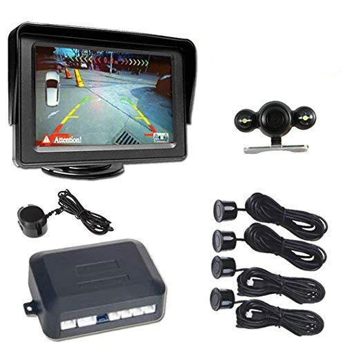 BW 10,92 cm LCD Color Monitor del coche para retrovisor + cámara de visión nocturna de recambio + 4 Sensores de aparcamiento 1 alarma