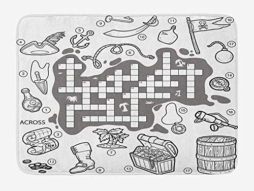 Casepillows Woord Zoek Puzzel Badmat, Kleurloze Piraten Thema Educatieve Puzzel Schatkaart en Pictogrammen, Pluche Badkamer Decor Mat met Niet Slip Backing, 23,6 x 15,7 Inch, Grijs Zwart Wit