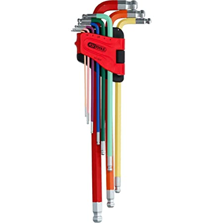 KS TOOLS Ball Ended Hexagon Key Wrench Set Extra long Imperial 9 pcs
