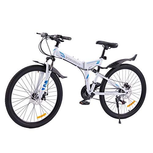 Viribus 26 Zoll Mountain Bike 21 Gang Klapprad Fahrrad Faltrad Folding Racing Road Bike mit verstellbarem Sitz für Herren und Damen
