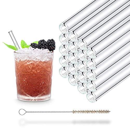 HALM Cannuccia - Cannucce in vetro riutilizzabili - Set di 20 cannucce dritte da 15cm + 1 spazzola per la pulizia - Senza BPA - Lavabili in lavastoviglie - Ecosostenibili - Per cocktail e frullati