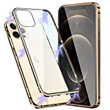 Pengkun Funda para iPhone 12 Pro MAX 6.7 Inch Adsorcion Magnetica 360 Grados Protección Carcasa Cristal Transparente Templado Metal Flip Cover, Dorado