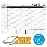 Jahresplaner 2020, XXL gr. Als DIN A1 Wandkalender 19/20 im Querformat zum Eintragen, Jahreskalender mit Kalenderwochen, Schulferien, Feiertagen