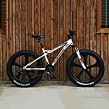 Bicicletas De Montaña 26 Pulgadas/21 Velocidad Bicicleta De Montaña De Fat Tire para Adultos, Marco De Acero De Alto Carbono Doble Suspensión Completa Doble Freno De Disco,Blanco